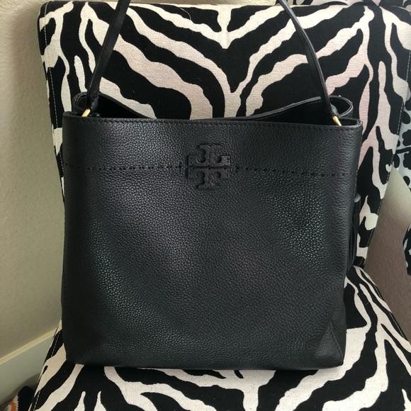 1edfe7de077 Tory Burch McGraw pebbled leather hobo black. M 5c1298412e1478154ef4f39f